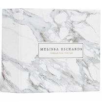 Professional Luxe White Marble Personalized 3 Ring Binder
