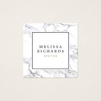 Professional Luxe White Marble Square Business Card