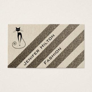 Professional luxury texture leopard stripes cat business card
