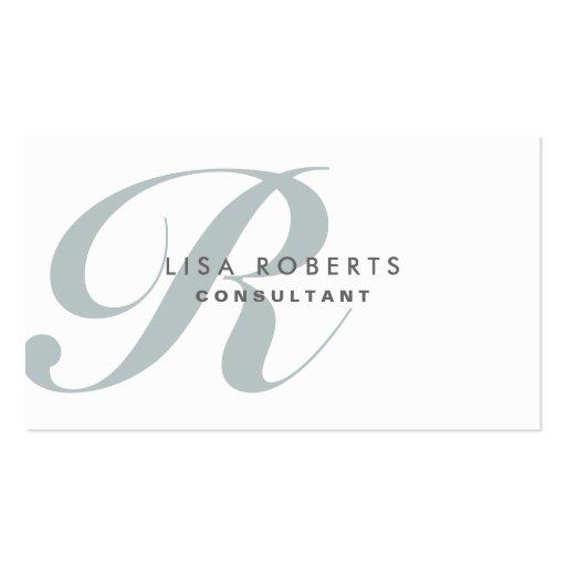 Professional Makeup Artist Elegant Monogram White Business Card