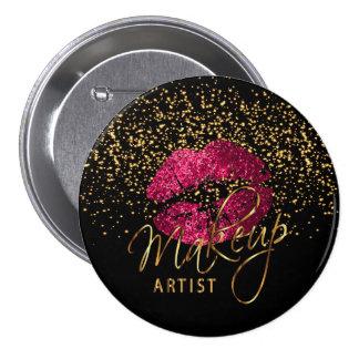 Professional Makeup Artist - Hot Pink Lips Button
