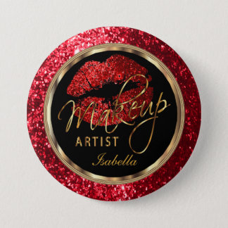 Professional Makeup Artist - Red Glitter and Black Pinback Button