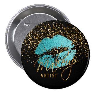 Professional Makeup Artist - Teal Blue Lips Pinback Button