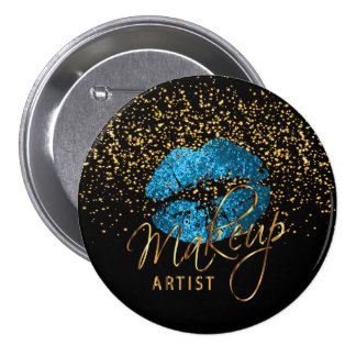 Professional Makeup Artist - Turquoise Blue Lips Button