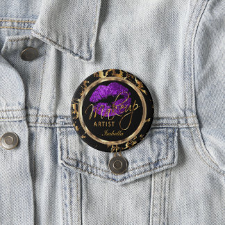 Professional Makeup - Purple, Black and Marble Pinback Button