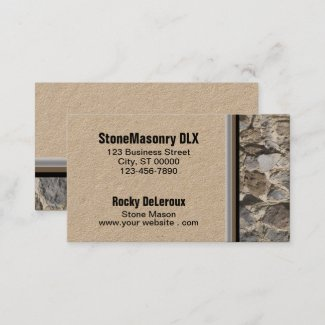 Professional Mason Stone Wall Photograph Border Business Card