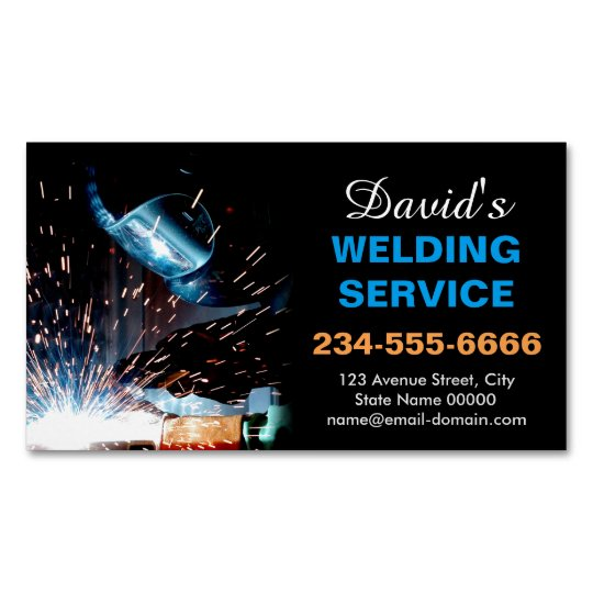 professional metal welding fabrication contractor business card magnet - Welding Business Cards