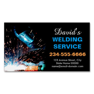 Professional Metal Welding Fabrication Contractor Magnetic Business Cards (Pack Of 25)