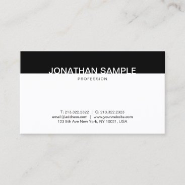 Professional Minimalist Black And White Elegant Business Card