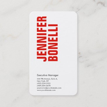 Professional minimalist modern bold red white business card