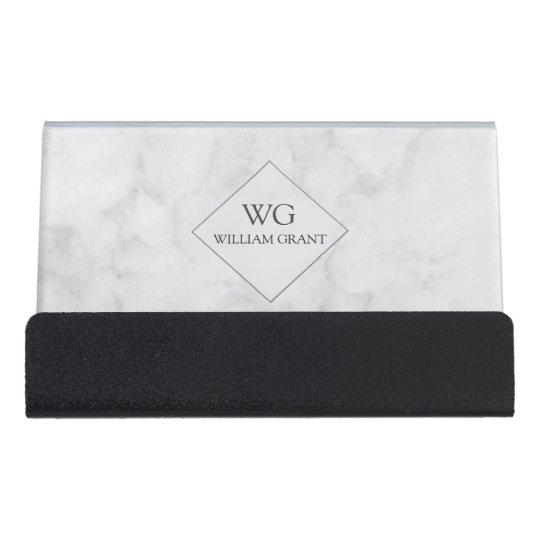 professional minimalist white marble monogram desk business card holder - Desk Business Card Holder