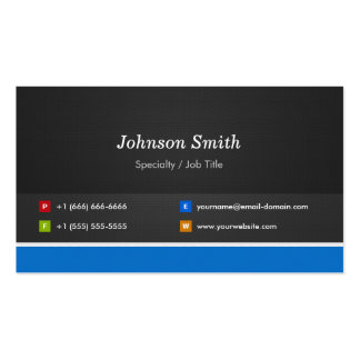 Professional Modern Black and Blue Corporate Double-Sided Standard Business Cards (Pack Of 100)