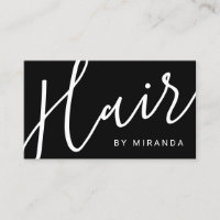 Professional Modern Black and White Hair Stylist Business Card