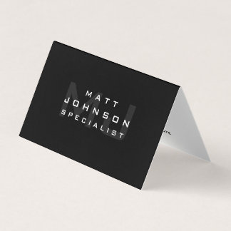 Professional Modern Black Folded Business Card