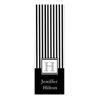 Professional modern black white stripes monogram business card template