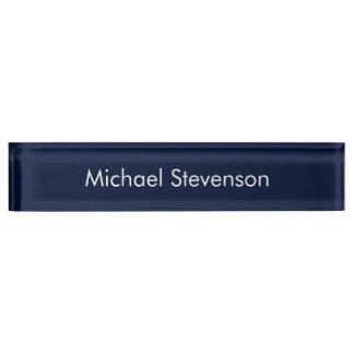 Professional Modern Blue Business Desk Nameplate