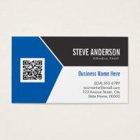 Qr code business cards templates zazzle qr code business cards professional modern blue corporate qr code logo flashek Choice Image