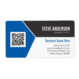 Professional Modern Blue - Corporate QR Code Logo Shipping Label