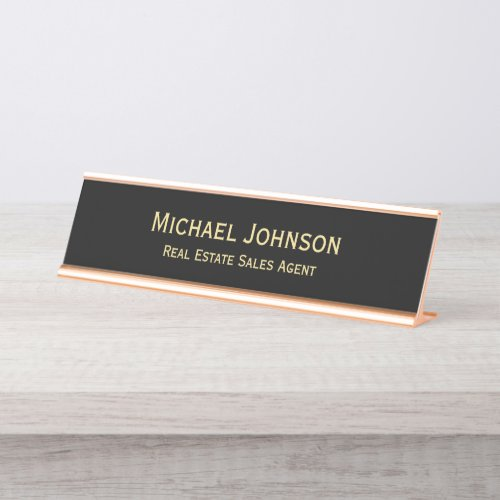 Professional Modern Classy Black Gold Office Title Desk Name Plate