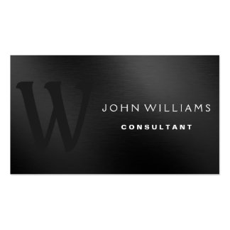 Professional Modern Custom Monogram on Black metal Double-Sided Standard Business Cards (Pack Of 100)