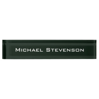 Professional Modern Dark Green Business Nameplate