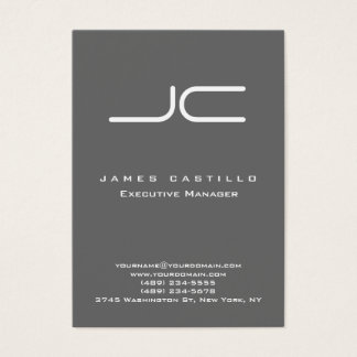 Professional Modern Dim Gray Monogram Business Card