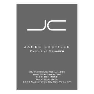 Professional Modern Dim Gray Monogram Large Business Card