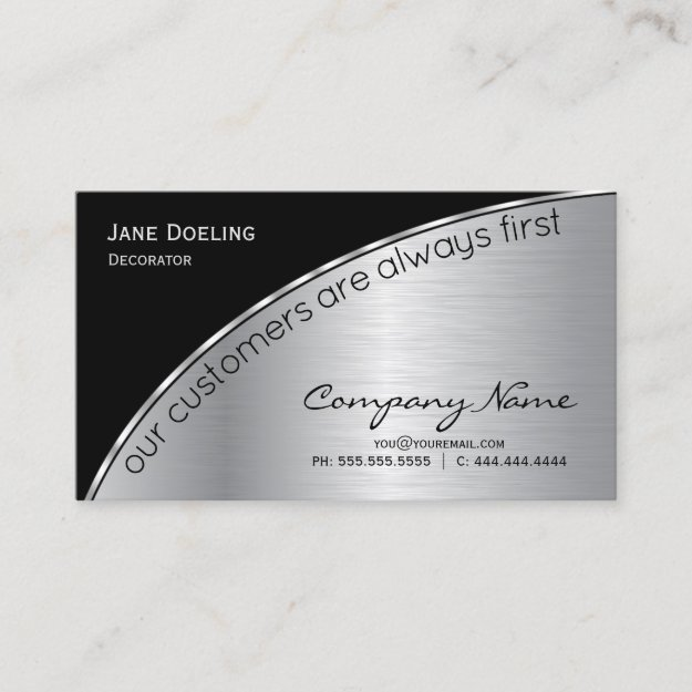 Professional Modern Elegant Black Brushed Silver Business Card