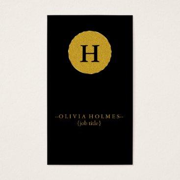 Lawyer Themed Professional Modern Elegant Black Faux Gold Foil Business Card