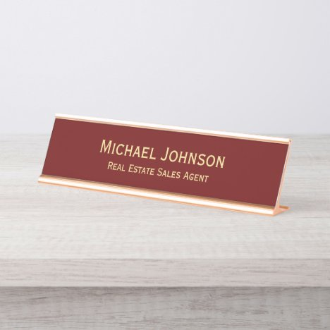 Professional Modern Elegant Business Office Title Desk Name Plate