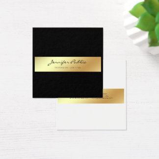 Professional Modern Elegant White Black Gold Chic Square Business Card