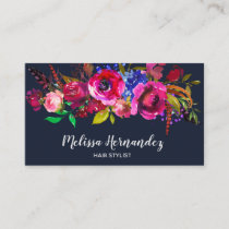 Professional Modern Floral Hair Stylist Burgundy Business Card