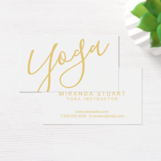 Professional Modern Gold Yoga Instructor Business Card