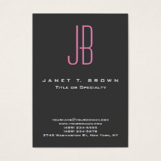 Professional Modern Grey Pink Monogram Business Card at Zazzle