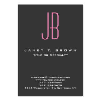 Professional Modern Grey Pink Monogram Large Business Card