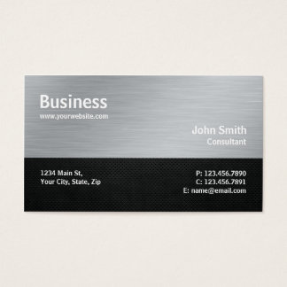 Professional Modern Metal Computer Repair Silver Business Card