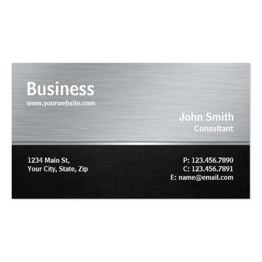 Professional Modern Metal Silver Computer Repair Business Card Template
