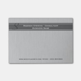 Professional Modern Monogram Gray Post-it® Notes