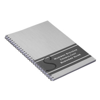 Professional Modern Monogram Gray Spiral Notebook