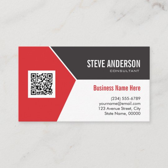 Professional Modern Red Corporate Qr Code Logo Business Card