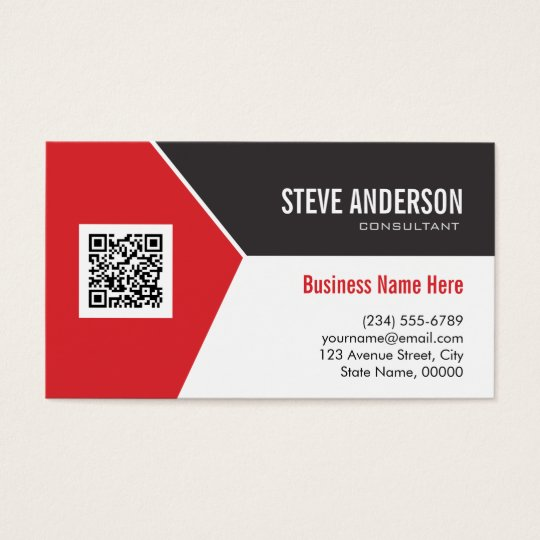 Professional modern red corporate qr code logo business for Create qr code business card