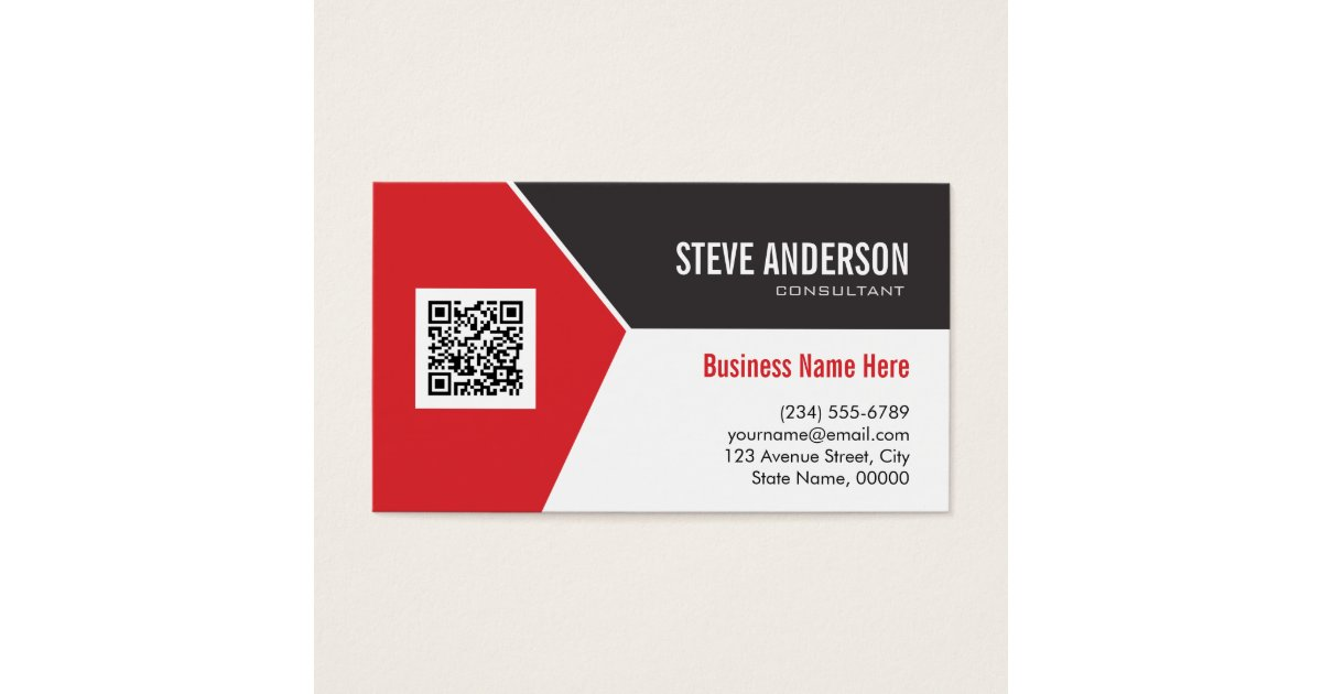 Professional Modern Red - Corporate QR Code Logo Business Card ...