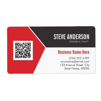 Professional Modern Red - Corporate QR Code Logo Shipping Label