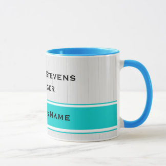 Professional Modern White Pinstripes Teal Business Mug
