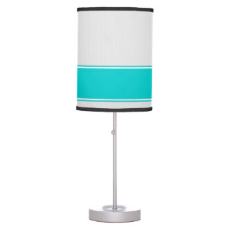 Professional Modern White Pinstripes Teal Desk Lam Desk Lamp
