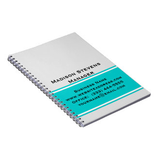 Professional Modern White Pinstripes Teal Notebook