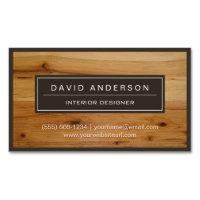 Professional Modern Wood Grain Look Magnetic Business Card