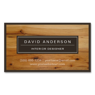 Professional Modern Wood Grain Look Magnetic Business Cards (Pack Of 25)