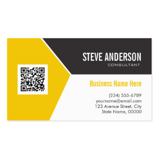 Professional Modern Yellow Corporate QR Code Logo Double-Sided Standard Business Cards (Pack Of 100)