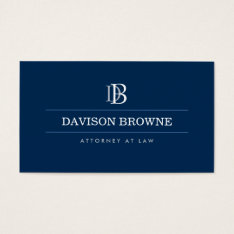 Professional Monogram Attorney, Lawyer Blue Business Card at Zazzle